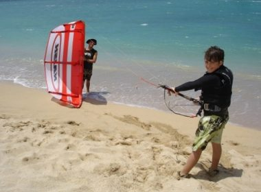 kid kiteboarding